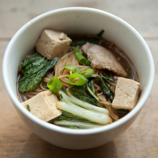 Pasta, Tofu, Pork, and Chinese Cabbage in Ginger Broth
