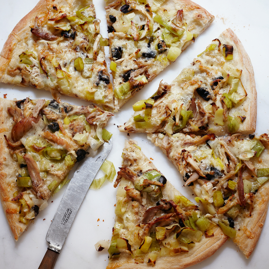 Roasted Chicken and Leek Pizza
