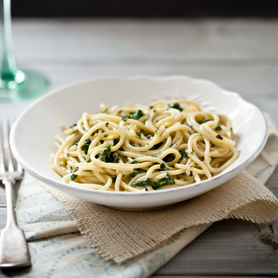 Spaghetti with Creamy Spinach and Tarragon