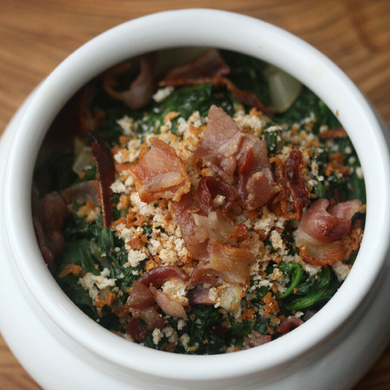 Spinach Casserole with Bacon Bits