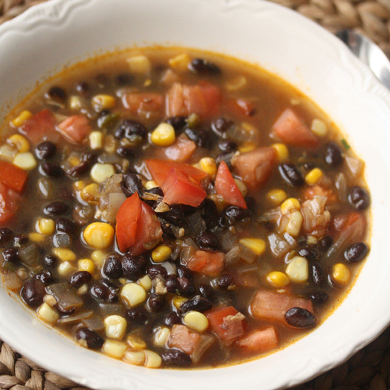 Summer Black Bean Soup with Corn and Tomatoes