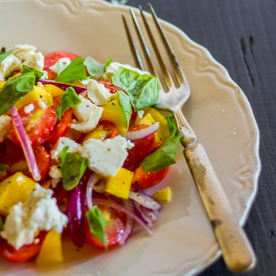 Tomato-Mango Salad with Basil and Feta
