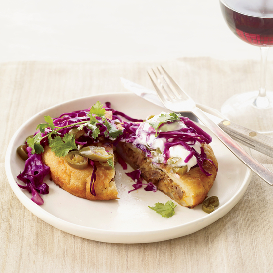 Pork-and-Cheese Arepas with Tangy Cabbage Slaw