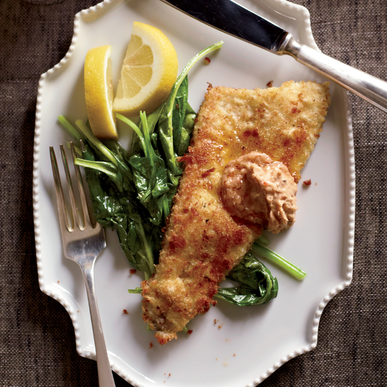 Trout Schnitzel with Lemon-Chile Butter