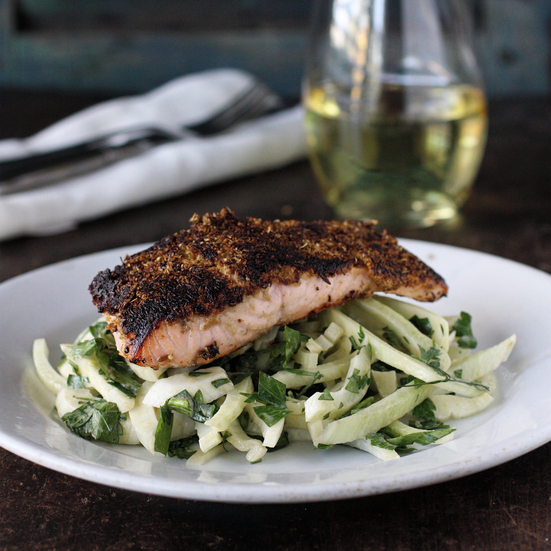 Cumin-Fennel Rubbed Salmon with Fennel-Parsley Salad