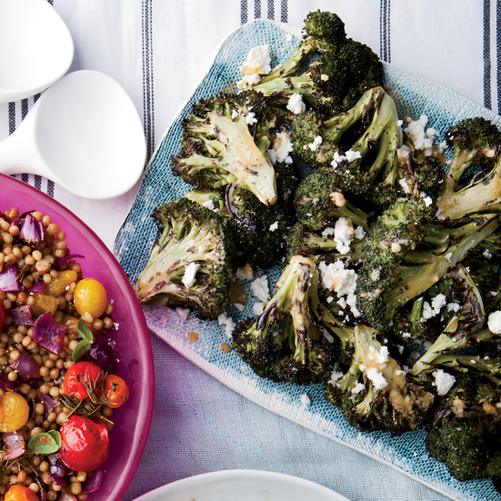 Grilled Broccoli with Chipotle- Lime Butter and Queso Fresco