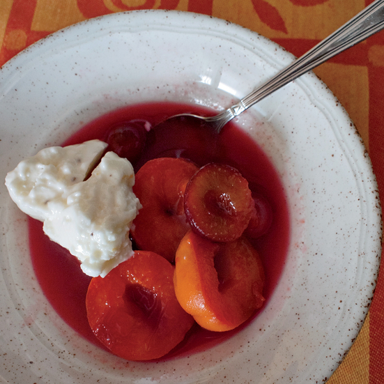 Apricots and Plums Poached in Rosé Wine