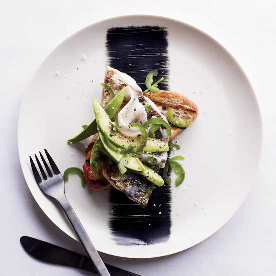 Grilled Mackerel with Lardo, Avocado and Jalapeño on Toast