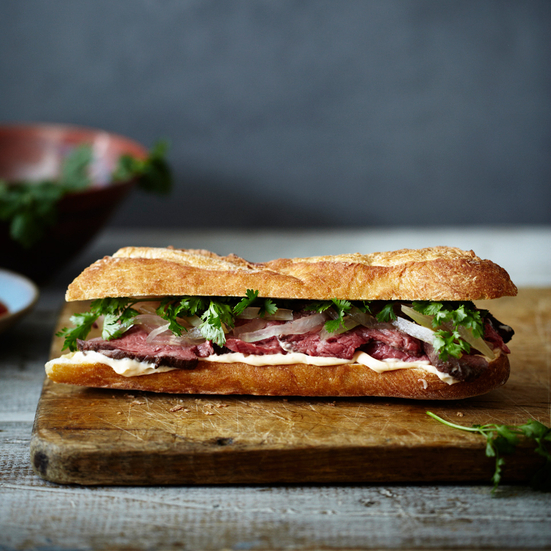 Beef Tenderloin Banh Mi with Pickled Watermelon Rind and Spicy Sesame Mayo