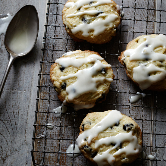 Cream Cheese Cookies with Blueberries and Lime Glaze