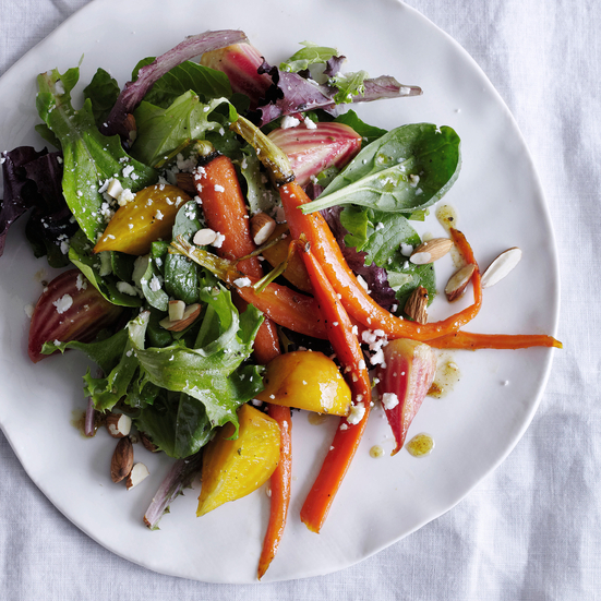 Glazed Baby Beet and Carrot Salad with Cumin Dressing