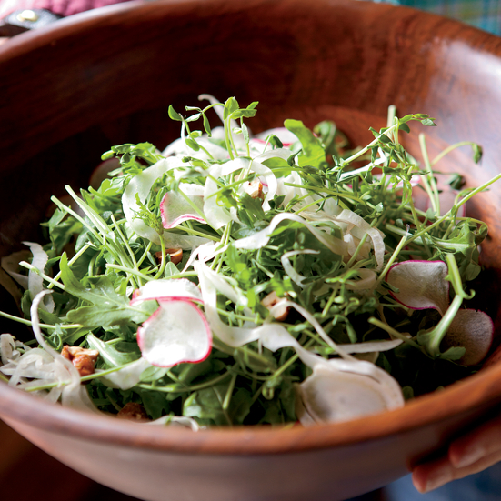 Pea Shoot and Arugula Salad with Radishes and Hazelnuts Recipe