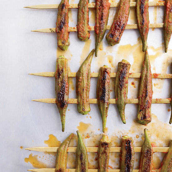 Grilled Okra with Red Curry-Lime Dressing