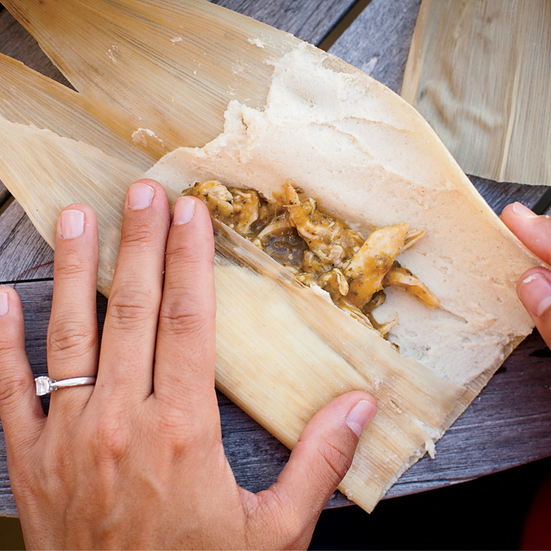 Chicken Tamales with Tomatillo-Cilantro Salsa