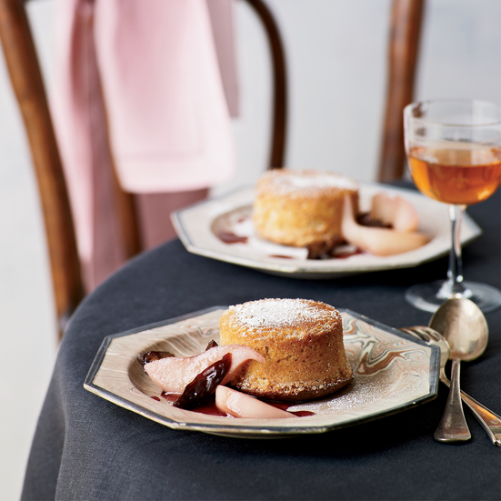 Fallen Toasted-Almond Soufflés with Poached Pears and Prunes