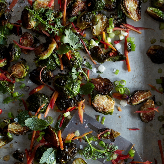 Warm Brussels Sprouts with Honey, Caraway & Lime
