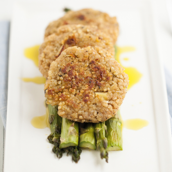 Bulgur Patties with Roasted Asparagus
