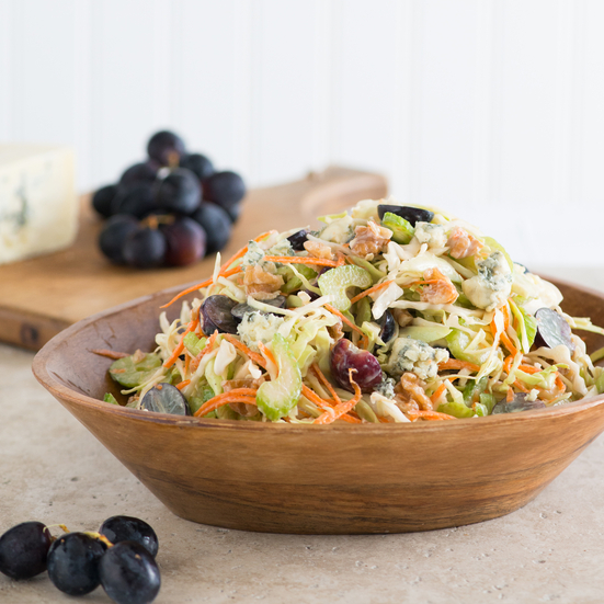 Blue Cheese, Walnut, Grape, and Cabbage Slaw