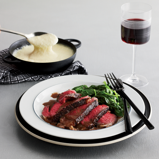 Grilled Rib Steak with Brandy-Peppercorn Sauce