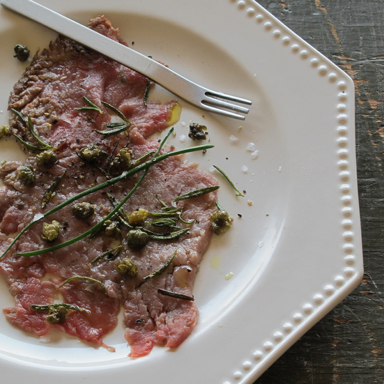 Beef Carpaccio with Crispy Capers and Rosemary