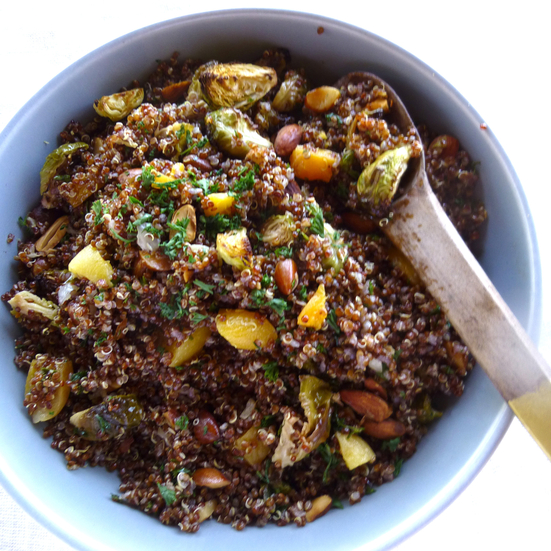 Red Quinoa Salad with Roasted Brussels Sprouts, Apricots and Almonds