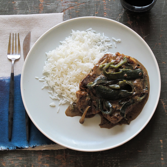Smothered Pork Chops with Poblano Gravy