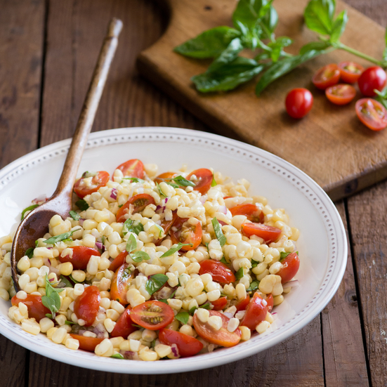 Corn, Tomato, and Basil Salad with Mustard Vinaigrette