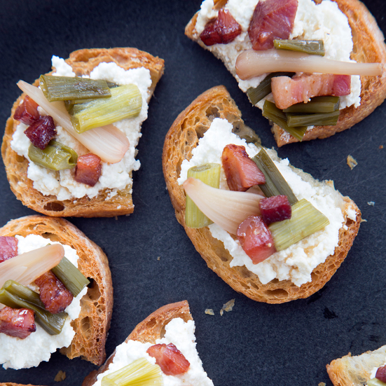 Ricotta Crostini with Pickled Ramps and Crisp Pancetta