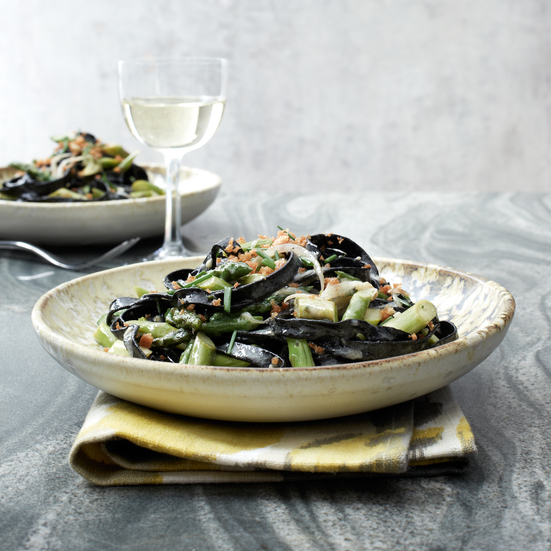 Squid Ink Pasta with Asparagus