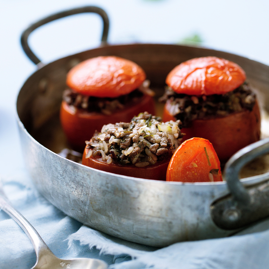 Baked Tomatoes Stuffed with Lamb and Fresh Herbs