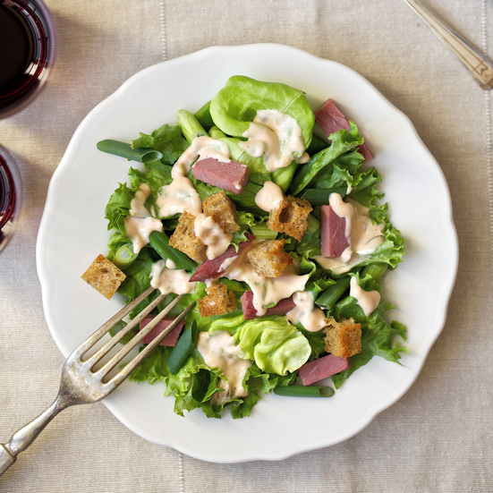 Corned-Beef Salad with Thousand Island Dressing and Rye Croutons