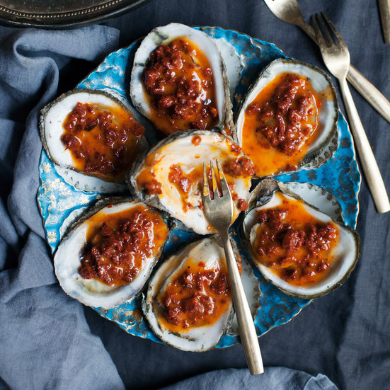 Grilled Oysters with Chorizo Butter