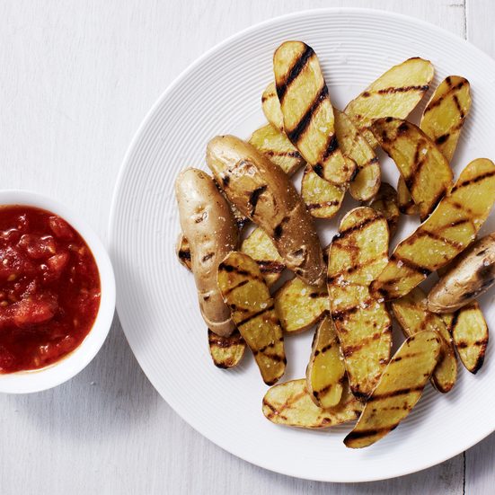 Grilled Potatoes with Tomato Dip