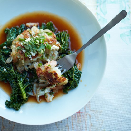 Shrimp-and-Potato Cakes with Kale