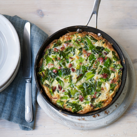 Sautéed Spring Greens and Manchego Frittata