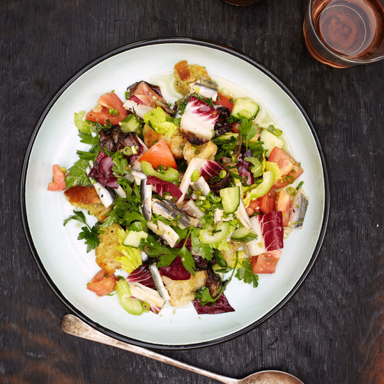 White Anchovy and Grilled Radicchio Bread Salad Recipe - Tim Byres ...