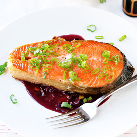 Salmon with Red-Wine Sauce