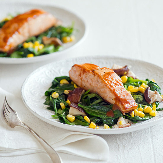 Seared Salmon with Sweet Corn, Shiitakes and Spinach
