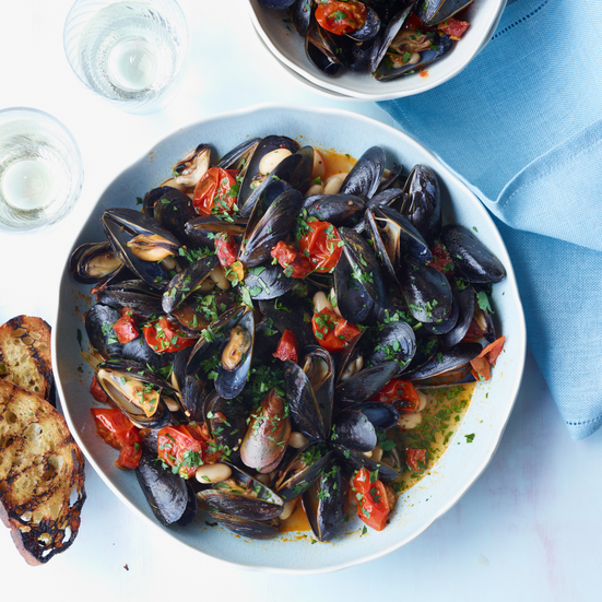 Mussels with White Beans and Chorizo