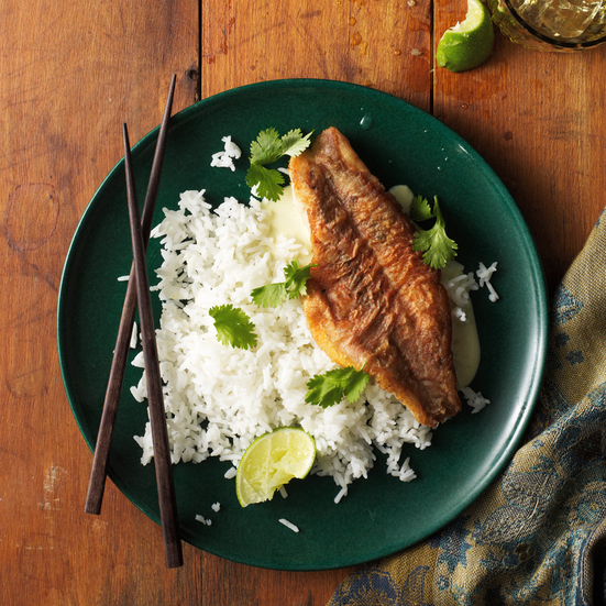 Orange Roughy on Rice with Thai-Spiced Coconut Sauce