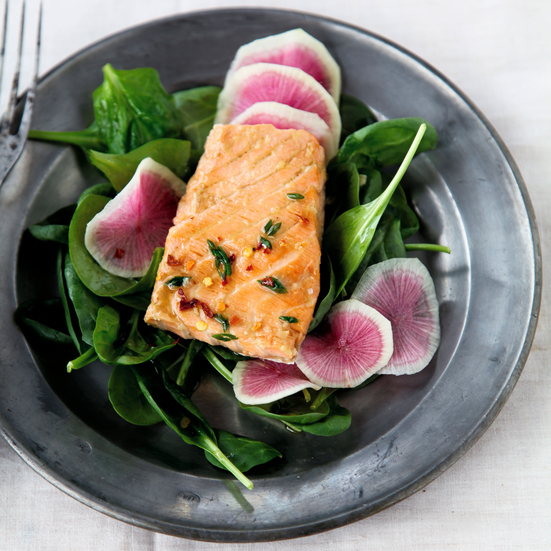 Steamed Salmon with Ginger and Chives
