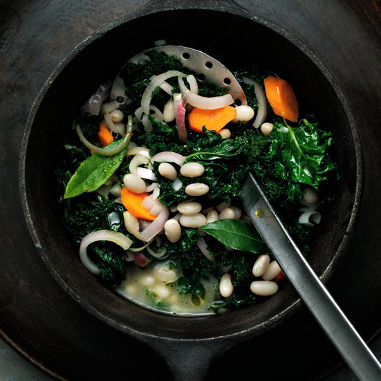 Tangy Braised Collard Greens with White Beans and Lime