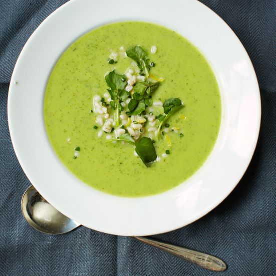 Zucchini and Spinach Soup with Barley, Coriander and Watercress