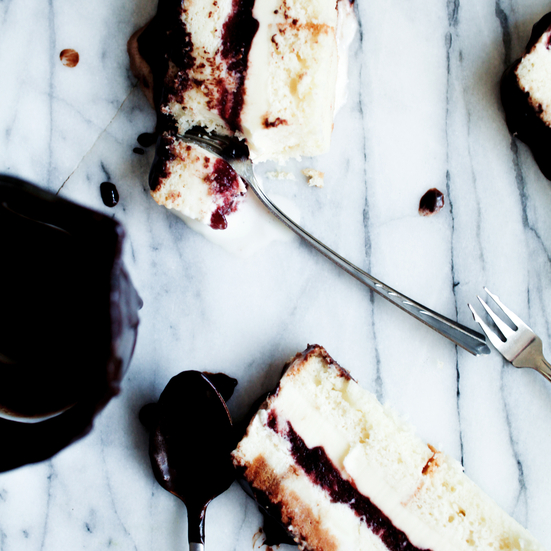Hot Fudge Raspberry Ripple Ice Cream Sundae Loaf Cake