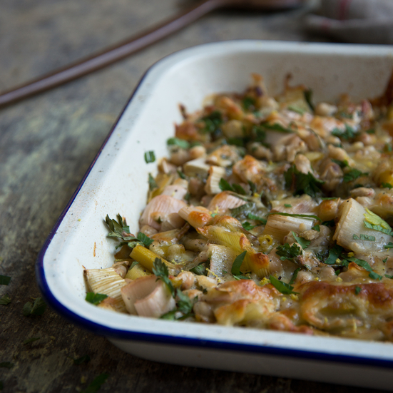 Roasted Leek and White Bean Gratin