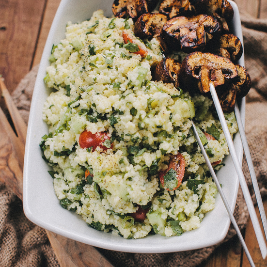 Grilled Mushroom Kabobs and Couscous Salad