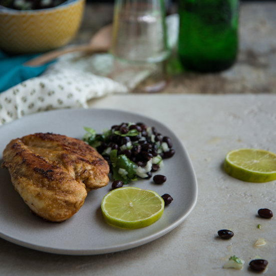 Cumin-Spiced Roast Chicken Breast with Zesty Black Beans