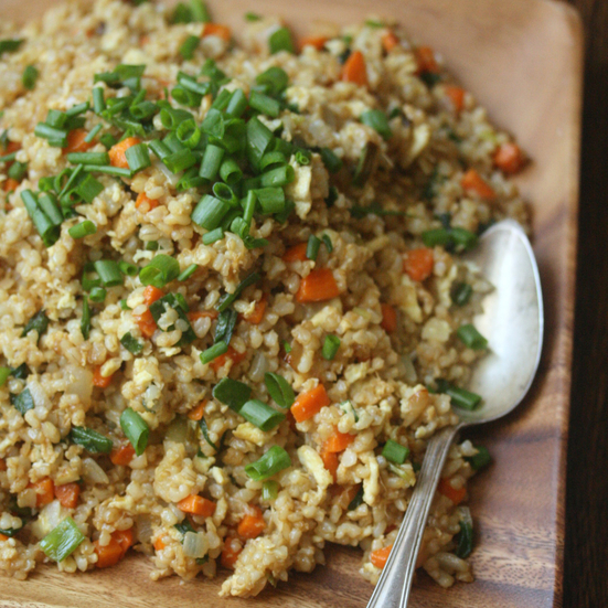Fried Brown Rice with Scallions and Eggs