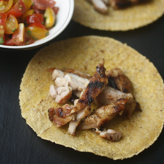 Grilled Chicken Thigh Tacos with Pico de Gallo