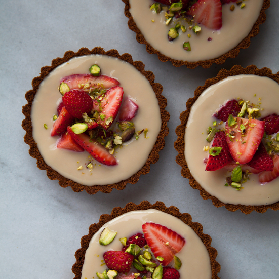 Strawberry and Lemon Tarts with Pistachios